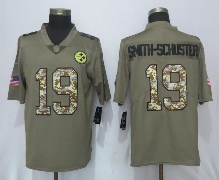Men Nike Pittsburgh Steelers 19 Smith-schuster Olive Camo Carson 2017 Salute to Service Limited Jersey