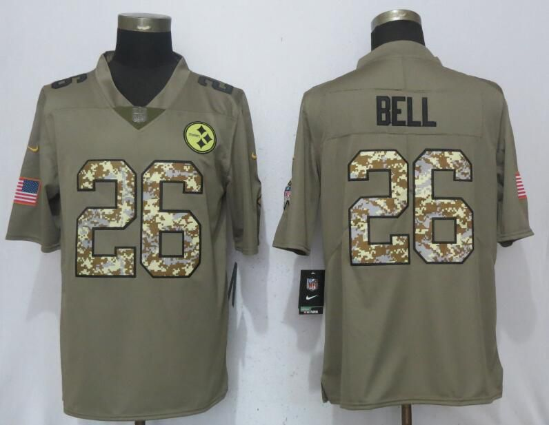 3bcdbee7d Men Nike Pittsburgh Steelers 26 Bell Olive Camo Carson 2017 Salute to Service  Limited Jersey