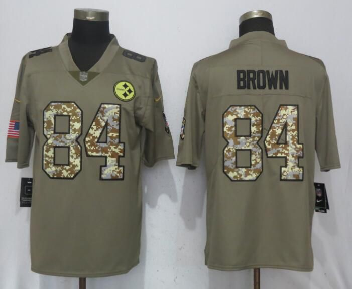Men Nike Pittsburgh Steelers 84 Brown Olive Camo Carson 2017 Salute to Service Limited Jersey