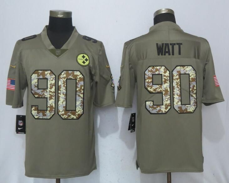 Men Nike Pittsburgh Steelers 90 Watt Olive Camo Carson 2017 Salute to Service Limited Jersey