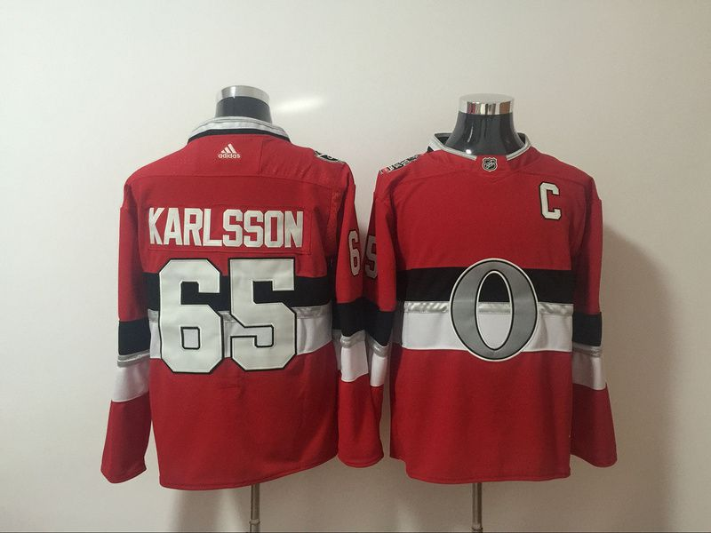 Men Ottawa Senators 65 Karlsson Red Hockey Stitched Adidas NHL Jerseys