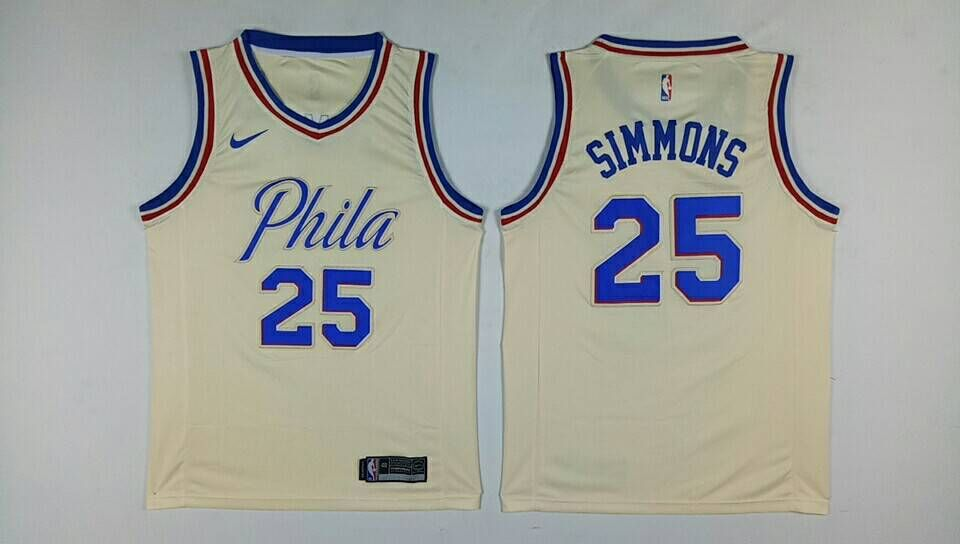 Men Philadelphia 76ers 25 Simmons Gream Nike NBA Jerseys