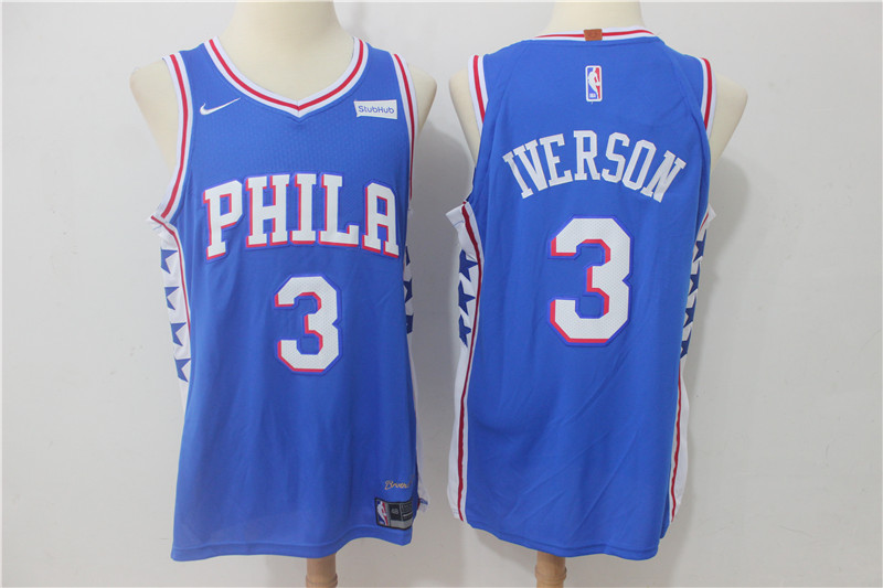 Men Philadelphia 76ers 3 Iverson Blue Game Nike NBA Jerseys