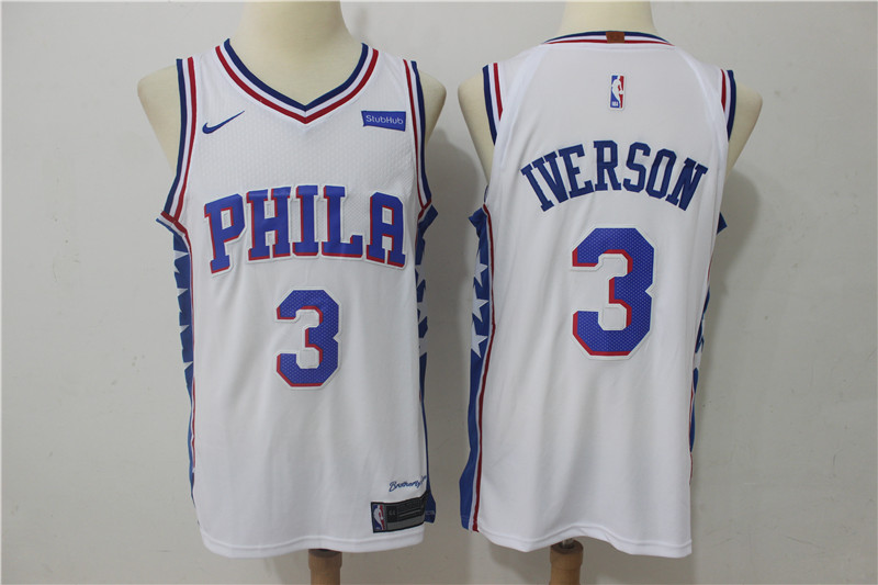 Men Philadelphia 76ers 3 Iverson White Game Nike NBA Jerseys