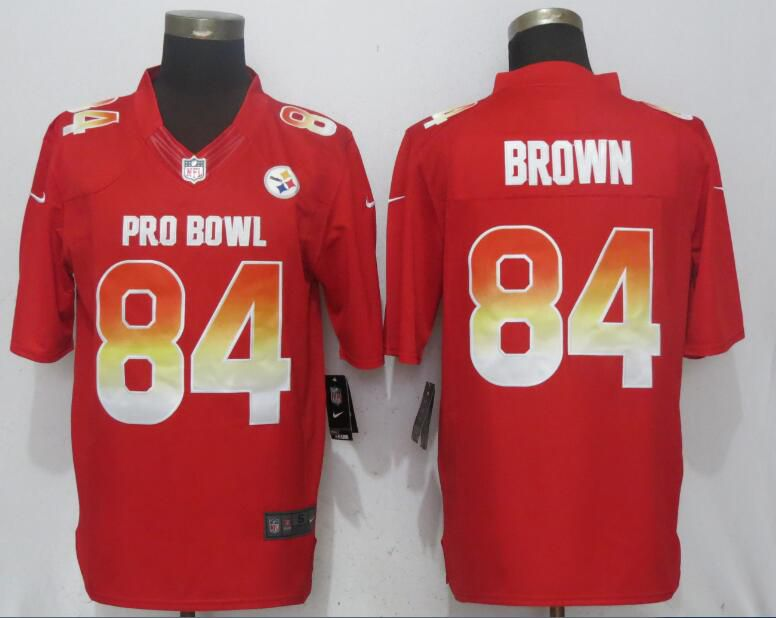 Men Pittsburgh Steelers 84 Brown Red New Nike Royal 2018 Pro Bowl Limited NFL Jerseys