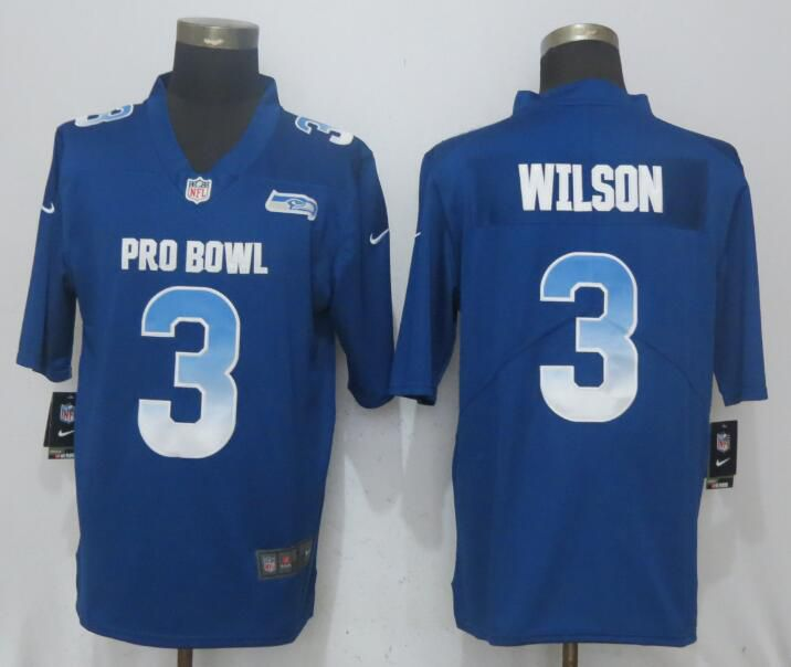 Men Seattle Seahawks 3 Wilson Blue New Nike Royal 2018 Pro Bowl Limited NFL Jerseys