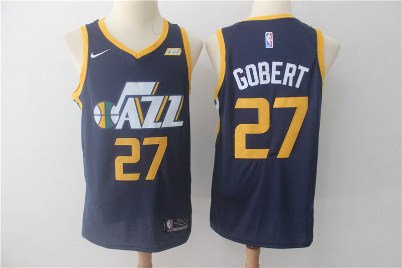 Men Utah Jazz 27 Gobert Blue Nike NBA Jerseys