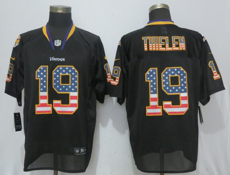 NFL Men New Nike Minnesota Vikings 19 Thielen USA Flag Fashion Black Elite Jerseys