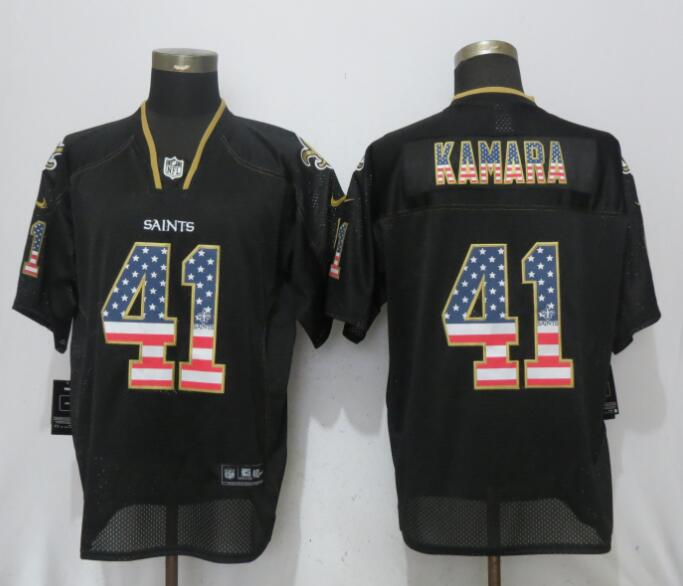 NFL Men New Nike New Orleans Saints 41 Kamara USA Flag Fashion Black Elite Jerseys