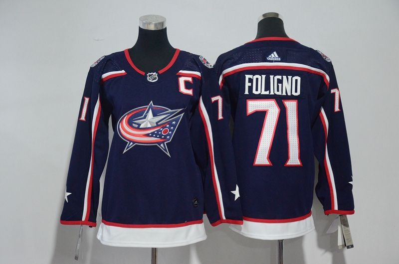 Women Columbus Blue Jackets 71 Foligno Blue Hockey Stitched Adidas NHL Jerseys