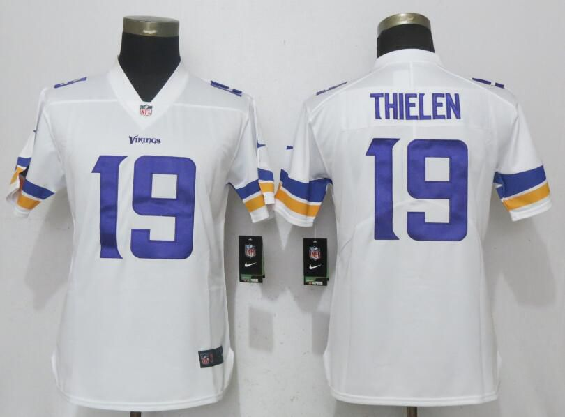 Women NEW Nike Minnesota Vikings 19 Thielen White Vapor Untouchable Elite jersey