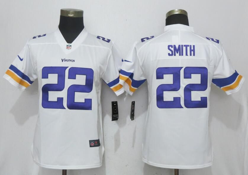 Women NEW NikeMinnesota Vikings 22 Smith White Vapor Untouchable Elite jersey