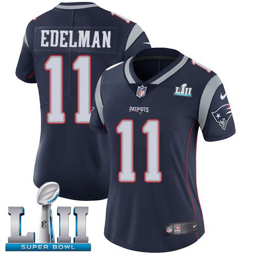Women New England Patriots 11 Edelman Blue Limited 2018 Super Bowl NFL Jerseys