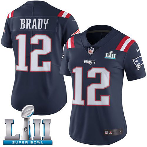 Women New England Patriots 12 Brady Blue Color Rush Limited 2018 Super Bowl NFL Jerseys