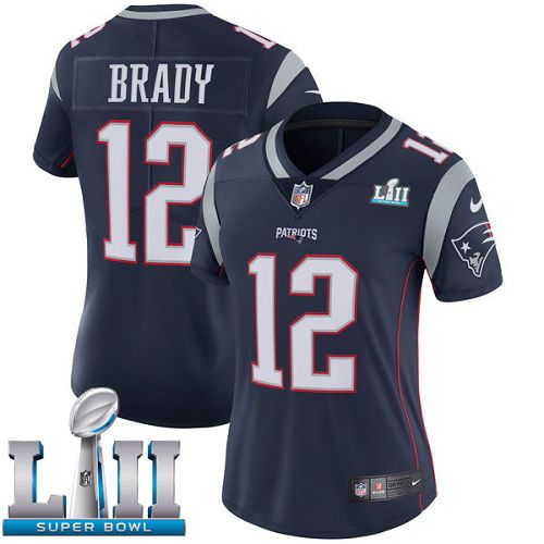 Women New England Patriots 12 Brady Blue Limited 2018 Super Bowl NFL Jerseys