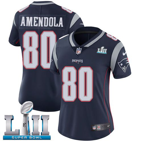 Women New England Patriots 80 Amendola Blue Limited 2018 Super Bowl NFL Jerseys