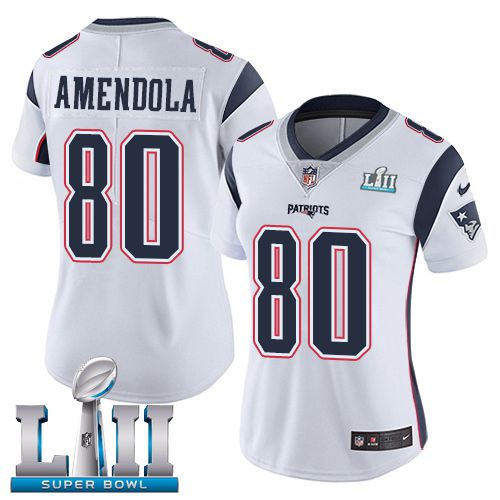 Women New England Patriots 80 Amendola White Limited 2018 Super Bowl NFL Jerseys