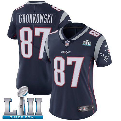 Women New England Patriots 87 Gronkowski Blue Limited 2018 Super Bowl NFL Jerseys