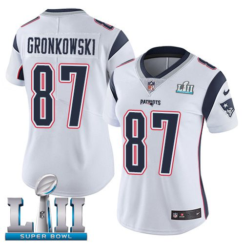 Women New England Patriots 87 Gronkowski White Limited 2018 Super Bowl NFL Jerseys