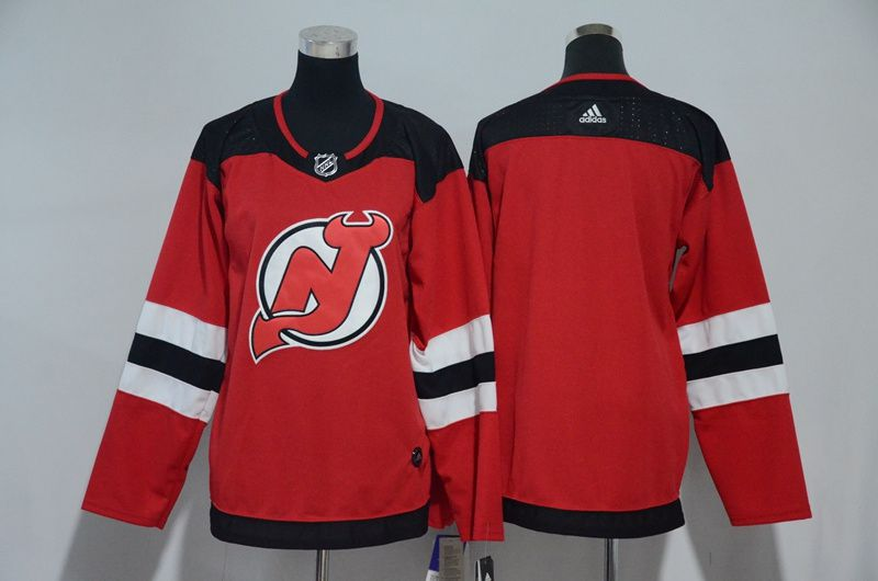 Women New Jersey Devils Blank Red Hockey Stitched Adidas NHL Jerseys