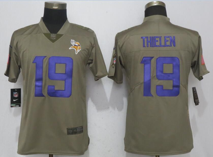 Women New Nike Minnesota Vikings 19 Thielen Olive Salute To Service Elite Jersey