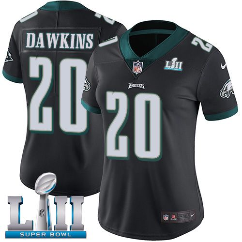 Women Philadelphia Eagles 20 Dawkins Black Limited 2018 Super Bowl NFL Jerseys