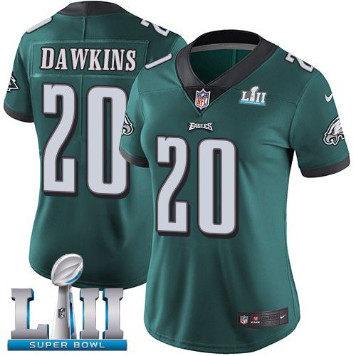 Women Philadelphia Eagles 20 Dawkins Green Limited 2018 Super Bowl NFL Jerseys