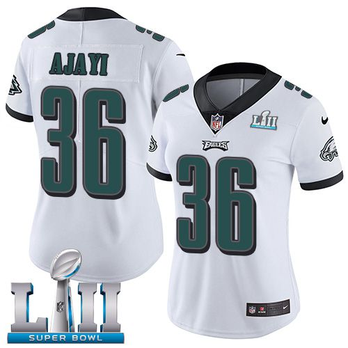 Women Philadelphia Eagles 36 Ajayi White Limited 2018 Super Bowl NFL Jerseys