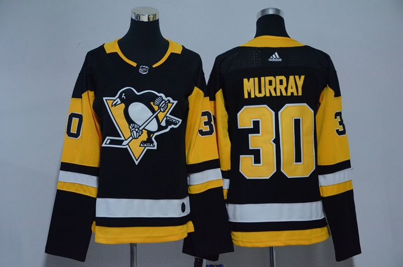 Women Pittsburgh Penguins 30 Murray Black Hockey Stitched Adidas NHL Jerseys