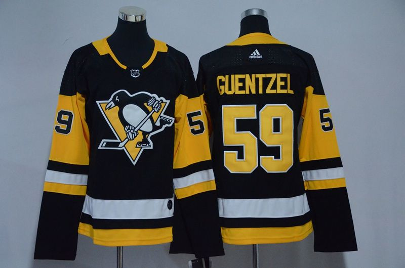 Women Pittsburgh Penguins 59 Guentzel Black Hockey Stitched Adidas NHL Jerseys