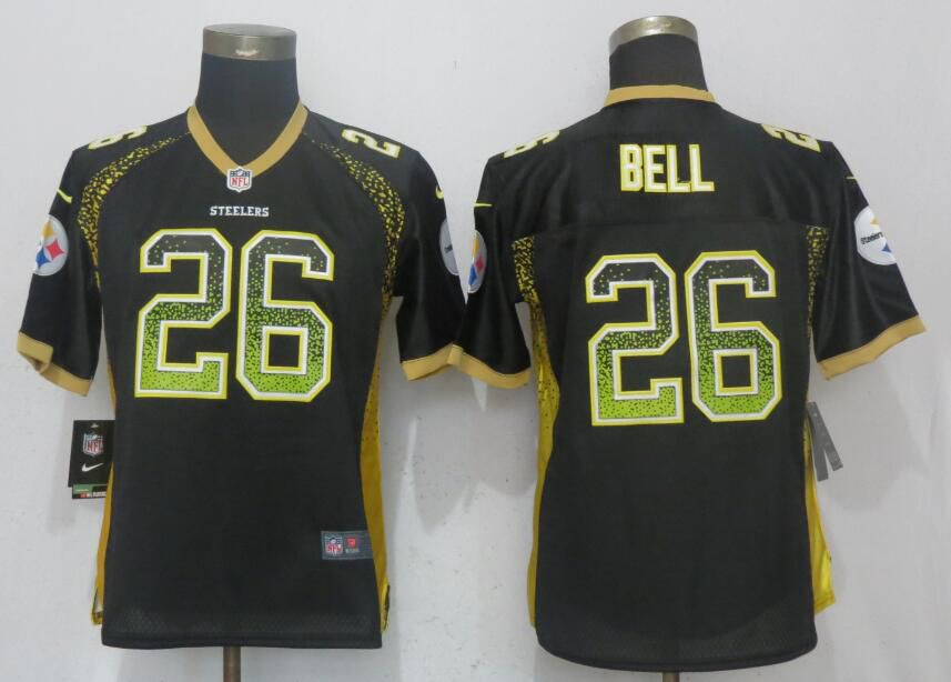 Women Pittsburgh Steelers 26 Bell Drift Fashion Black New Nike Elite NFL Jerseys
