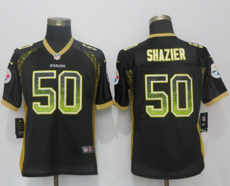 Women Pittsburgh Steelers 50 Shazier Drift Fashion Black New Nike Elite NFL Jerseys