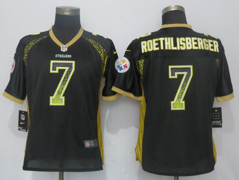 Women Pittsburgh Steelers 7 Roethlisberger Drift Fashion Black New Nike Elite NFL Jerseys
