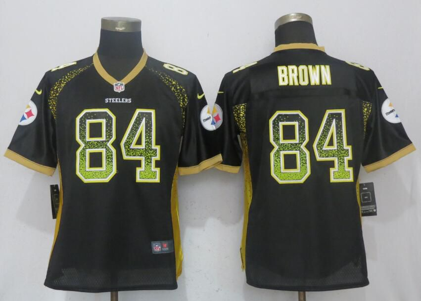 Women Pittsburgh Steelers 84 Brown Drift Fashion Black New Nike Elite NFL Jerseys