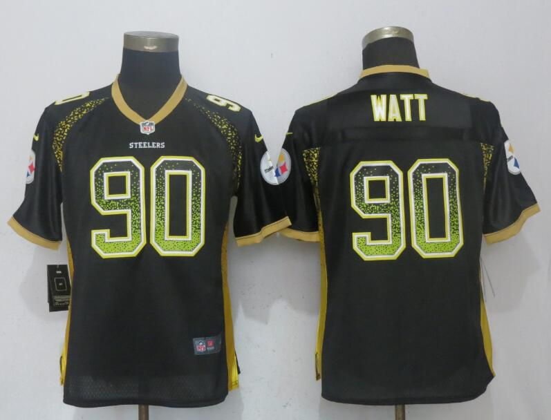Women Pittsburgh Steelers 90 Watt Drift Fashion Black New Nike Elite NFL Jerseys