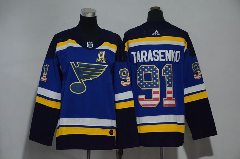 Women St. Louis Blues 91 Tarasenko Blue Hockey Stitched Adidas NHL Jerseys