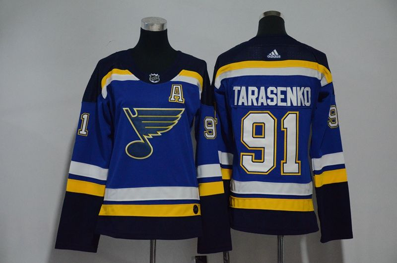 Women St. Louis Blues 91 Tarasenko Blue Hockey Stitched Adidas NHL Jerseys1