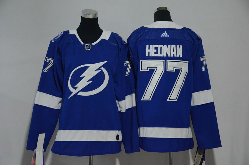 Women Tampa Bay Lightning 77 Hedman Blue Hockey Stitched Adidas NHL Jerseys