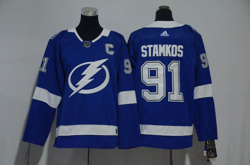 Women Tampa Bay Lightning 91 Stamkos Blue Hockey Stitched Adidas NHL Jerseys