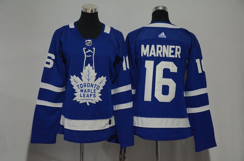 Women Toronto Maple Leafs 16 Marner Blue Hockey Stitched Adidas NHL Jerseys