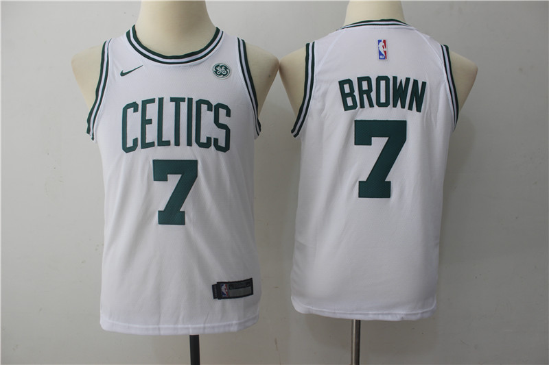 Youth Boston Celtics 7 Brown White Game Nike NBA Jerseys