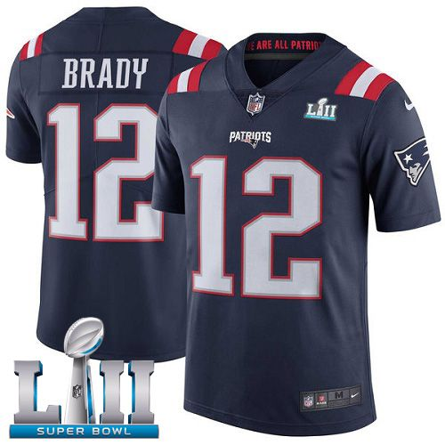 Youth New England Patriots 12 Brady Blue Color Rush Limited 2018 Super Bowl NFL Jerseys