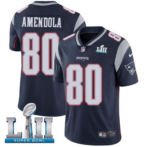 Youth New England Patriots 80 Amendola Blue Limited 2018 Super Bowl NFL Jerseys