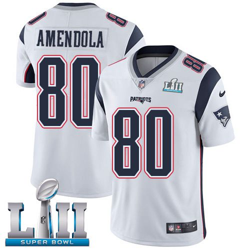 Youth New England Patriots 80 Amendola White Limited 2018 Super Bowl NFL Jerseys