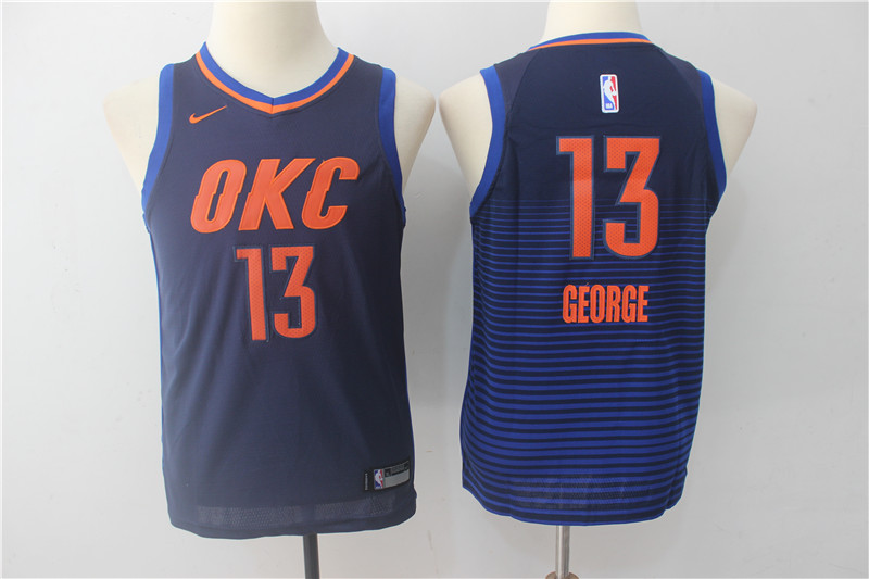 Youth Oklahoma City Thunder 13 George Blue Game Nike NBA Jerseys