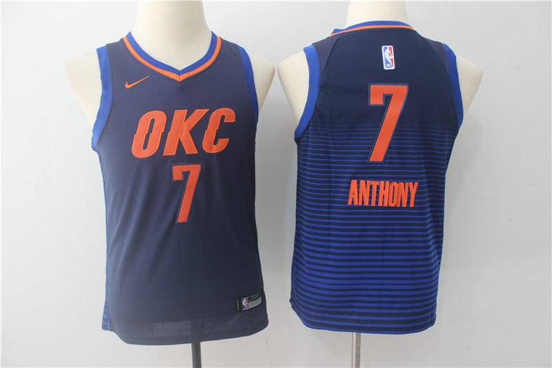 Youth Oklahoma City Thunder 7 Anthony Blue Game Nike NBA Jerseys