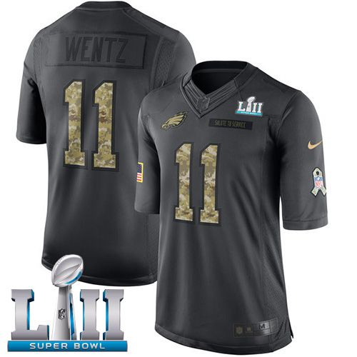 Youth Philadelphia Eagles 11 Wentz Anthracite Salute To Service Limited 2018 Super Bowl NFL Jerseys