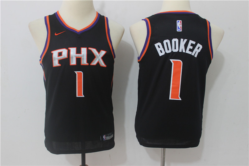 Youth Phoenix Suns 1 Booker Black Game Nike NBA Jerseys