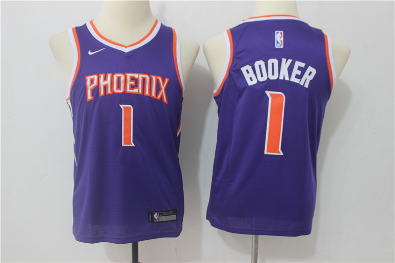 Youth Phoenix Suns 1 Booker Purple Game Nike NBA Jerseys
