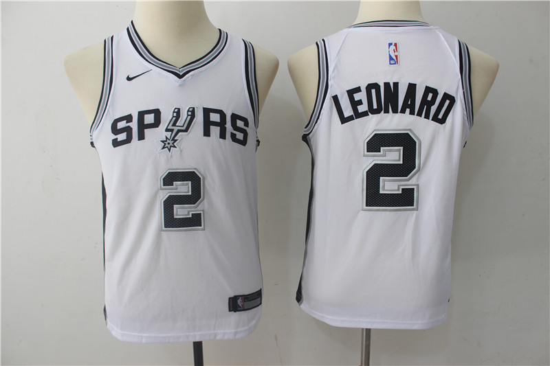 Youth San Antonio Spurs 2 Leonard White Game Nike NBA Jerseys